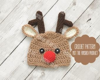 CROCHET PATTERN - Baby reindeer hat, newborn reindeer hat, reindeer outfit, newborn christmas photo prop, crochet newborn christmas pattern