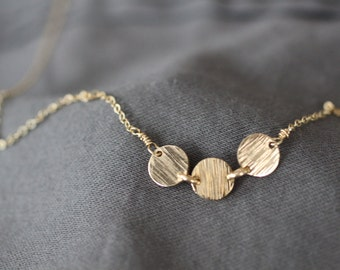 Gold Necklace, Simple Gold Necklace, Delicate Gold Necklace, Dainty Gold Necklace, Bridesmaids Gift, Mothers Necklace, Three Circles, N152
