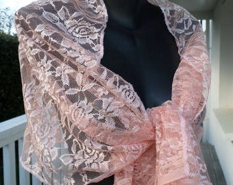 Coral salmon lace shawl woman clear nice wedding