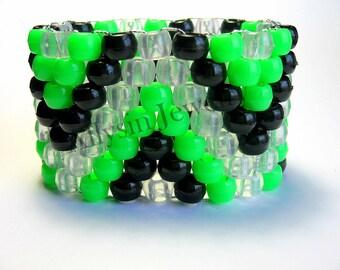Neon Kandi Zig Zag Cuff Bracelet, Green ZigZag Raver Plur, Zig Zags