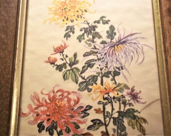 1968 Painting on Silk from Florence, Italy - Framed
