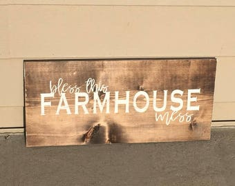 Bless This Farmhouse (or Ranchhouse) Mess Wooden Sign. Home Decor. Ranch Decor. Housewarming. Living Room. Wall Art. Wedding Gift. Rustic.
