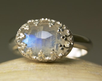 Sterling Silver Moonstone Ring, Faceted Rainbow Stone, Blue Flash Handmade, made to order