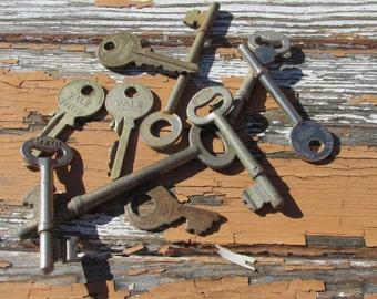 A Collection of 10 Old Skeleton Keys and Vintage Keys