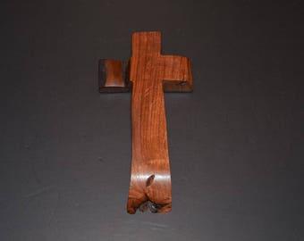 "Wood Cross; Christian Gift; Home Decor; Wood Gifts; Wedding Gift; Live Edge; Mesquite;4.5""x9""x1""; Free Ground Shipping USA; cc20-2061617"