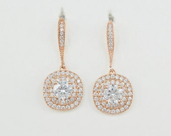 Rose Gold Cubic Zirconia Crystal Earrings, Ear Wires, Square Pendants, Silver Tone Bridesmaid Gifts Evelyn - Will Ship in 1-3 Business Days
