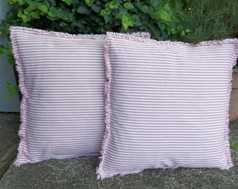 Pink Ticking Pillows Pink Stripe Pillow Covers Custom Sizes Fabrics Handmade Decorative Pillows Raggedy Throw Pillow French Country Pair