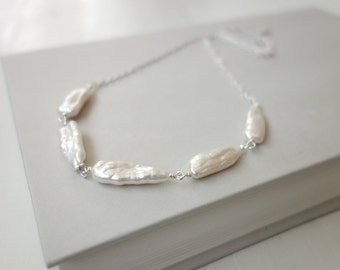 White pearl necklace pearl sticks necklace minimalist necklace long pearls chain necklace for women