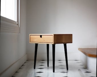 Mid-Century Scandinavian Side Table / Nightstand - One drawer and retro legs, all made of solid oak