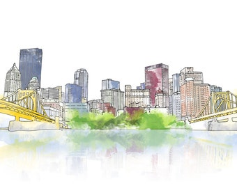 Pittsburgh Downtown Ink and Watercolor Drawing
