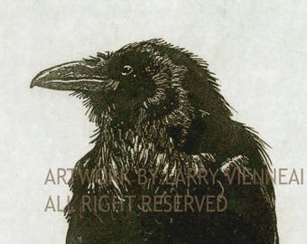 Raven Etching. Raven, crow,  Etching in Black Ink,  3 x 4 inch 2016