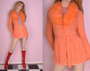 70s Deadstock Lamb Fur Collar Cardigan/ Medium/ 1970s/ Sweater