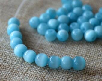 "66 Cat's Eye Glass 6mm Turquoise Blue Round Beads Fiber Optic 16"" Strand"
