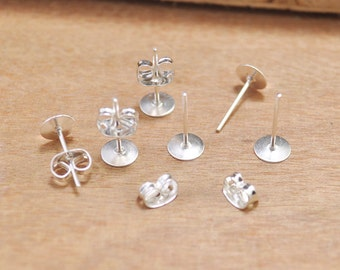 Black Earrings-100pcs (50 pairs) Silver Plated 6mm Flat-Pad Earring Posts and Backs diy jewelry finding supplies