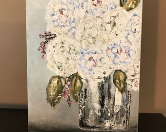 White Blooms Floral 12x14 Acrylic Painting Gallery Wrapped Canvas