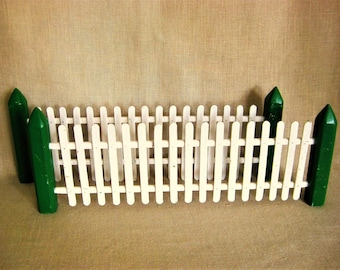 Vintage Folk Art Toy Miniature Fencing, Doll House, Model Train, White Picket Fence, Holiday Decor, Rustic Cabin, Farm, House, Set of Two