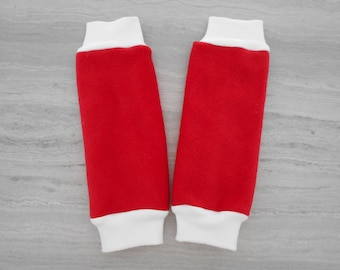 Leg warmers ecru fleece lined red fleece 6 months