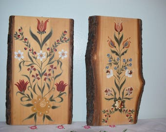Set of 2 Exquisite hand painted wood planks