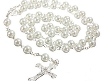 White Pearl Rosary Beads. Pearl Rosary Beads. Holy Communion Gift.Hand made Rosary Beads. Lovely First Holy Communion Gift.