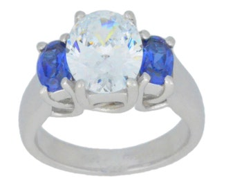 4 Ct Cubic Zirconia & Blue Sapphire Oval Ring .925 Sterling Silver Rhodium Finish