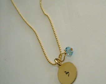 Initials Gold necklace Hebrew custom stamped charms and 1 chain Personalized Israel Birthstone-Jewish