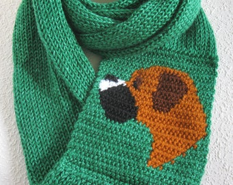 Boxer Infinity Scarf.  Emerald green, knit infinity scarf with a crochet boxer dog. Knitted dog scarf. Long cowl boxer gift