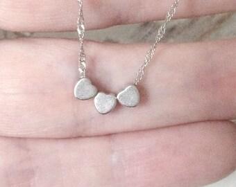 Pièces de mon collier de charme coeur en or, argent ou Rose personnalisé mères Collier coeur d'or ajoutent coeurs pour chaque enfant