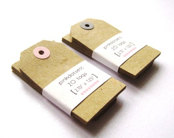 40 Blank Kraft Manila Gift Tags - Set of 40 - Medium - with Colored Reinforcement Ring - Grey/Pink or request color