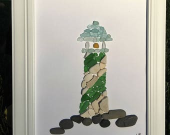 Authentic Sea Glass and Sea Pottery Lighthouse