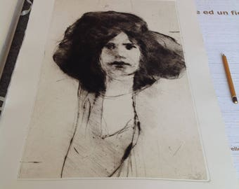 Art print, chalcographic engraving, drypoint etching. Face #013