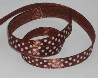 5 m ruban satin marron / brun à pois blanc largeur 9 / 10 mm