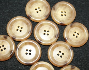 "Beige Buttons. Large beige Buttons. Tan Buttons. Size 1 3/8"" (34mm). Extra large buttons. Lot of 4"