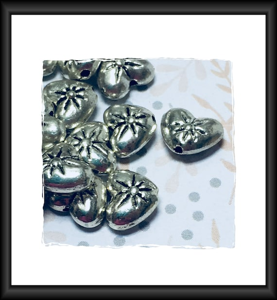 Antique Silver Tone Heart Pillow Beads 7x 9 mm , 10 Beads