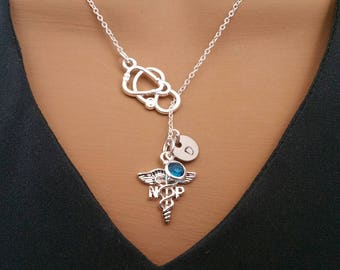 NP Nurse Practitioner Handstamped Personalized Crystal Birthstone Initial Lariat Style Necklace