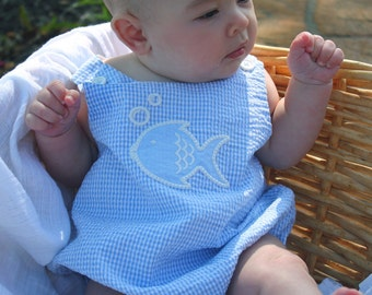 Gone Fishing! Our 100% blue and white gingham seersucker baby bubble with a fish applique is perfect for the spring and summer months.