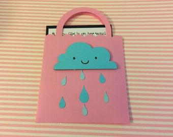 Shopping bag shower of rain baby shower invitation