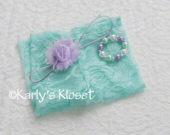 Baby Girl Pants, Lace Newborn Pants, Seafoam Baby Pants, Newborn Girl Props, Flower Headband, Baby Girl Prop Set, Newborn Prop Outfit