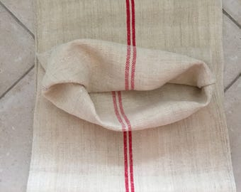 NS1724 Natural Limestone Vintage Linen Grainsack Fabric Red Striped