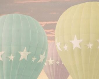 Hot Air Balloons - 8x10 photograph - fine art print - pastel hot air balloons - children's art - nursery room artwork