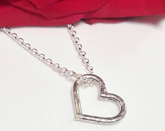 Sterling Silver Open Heart Hammered Texture Pendant Charm on a Sterling Silver Chain
