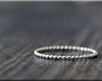 Thin Beaded Sterling Silver Ring, Sterling Silver Stacking Ring, Full Bead Sterling Ring, Beaded Silver Ring, Stacking ring