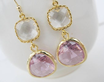 Clear pink and crystal earrings Gold pink glass drop earrings Crystal clear earrings Pink and white bridesmaids earrings blush earrings