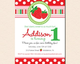 Sweet Strawberry Birthday Party Invitation (Digital File OR Cardstock Printed Cards Also Available)