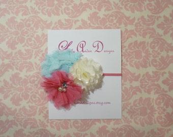 Aqua pink and cream flower cluster on super skinny headband/ baby headband/ newborn headband