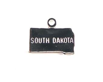 Engraved Tiny SILVER Plated on Raw Brass South Dakota State Charms (2X) (A440-B)