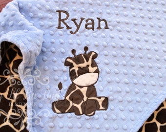 Giraffe minky baby blanket - personalized baby blanket with name - custom baby blanket - baby shower gift - monogrammed embroidered