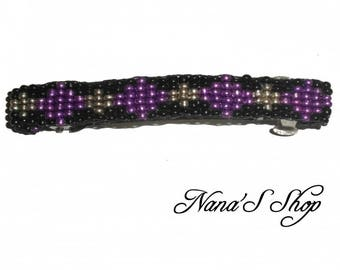hair clip, woven, black and purple beaded