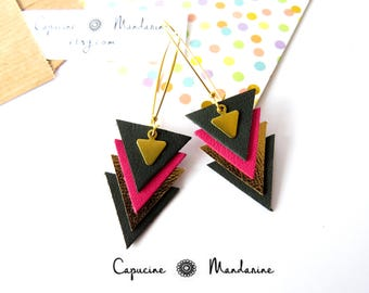 Triangle - dark green Fuchsia leather earrings