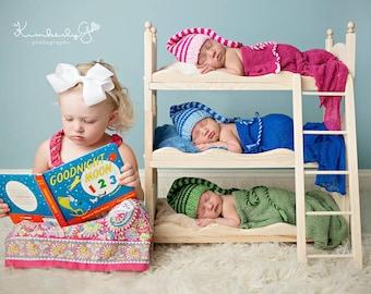 Baby Photography Prop * Photo Prop Bed * Photo Shoot * Indoor Play Set * Newborn Photo Prop Indoor Play Toys *Baby Triplets Newborn Prop Bed
