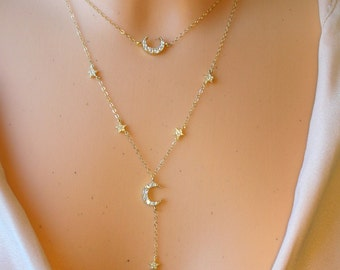 Star & Moon Y - necklace - 14 K goldfilled
